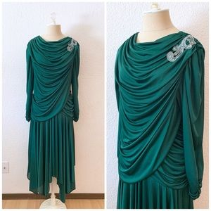 Vintage Emerald Green Draped Holiday Dress